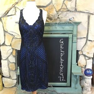 Sue Wong Beaded Soutache Embroidery Cocktail Dress